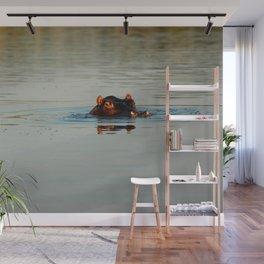 Cute Hippo Bathing Wall Mural