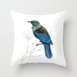 Tui, New Zealand native bird Throw Pillow
