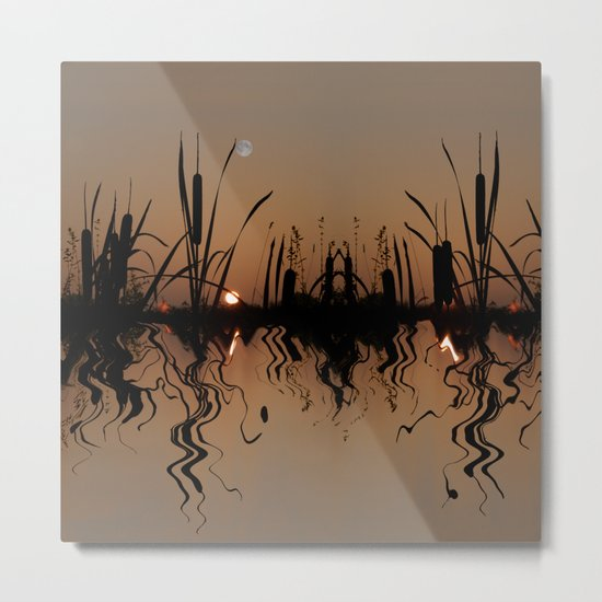 Moonlight reflections in a copper pond Metal Print