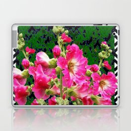 Fuchsia Pink Rose Color Holly Hocks Pattern Floral Art Laptop & iPad Skin