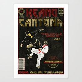 Bearded Keano vs Kung-Fu Cantona Comic Book Cover Art Print