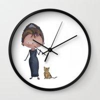 audrey Wall Clocks featuring Audrey by Juliana Motzko