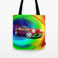 ferrari Tote Bags featuring Ferrari by JT Digital Art