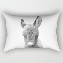 Black and White Baby Donkey Rectangular Pillow