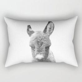 Black and White Baby Donkey Rectangular Pillow