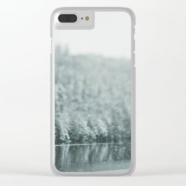 Snow falling Clear iPhone Case