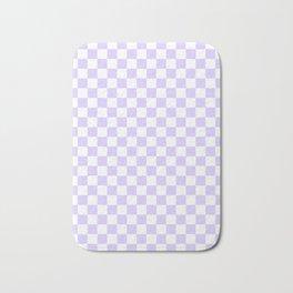 White and Pale Lavender Violet Checkerboard Bath Mat