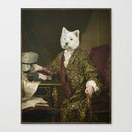 Portrait of a civilized Westie Canvas Print