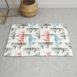 A piano pattern in black/red/blue Rug