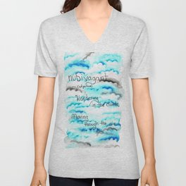 Watercolor Clouds Unisex V-Neck