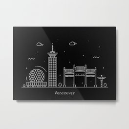 Vancouver Minimal Nightscape / Skyline Drawing Metal Print