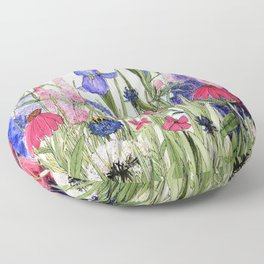 Colorful Garden Flower Acrylic Painting Floor Pillow