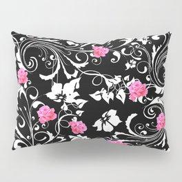 BEAUTIFUL PINK GREY-BLACK ROSE SCROLLS Pillow Sham