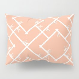 Bamboo Chinoiserie Lattice in Peach + White Pillow Sham