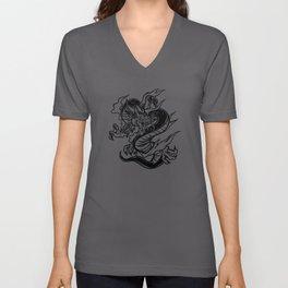 Hand Drawn Black Dragon Unisex V-Neck