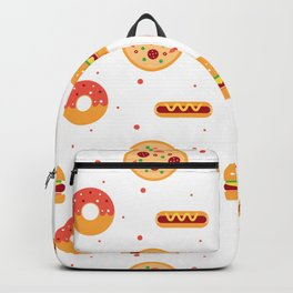 Pizza Pies, Cheeseburgers, Hot Dogs, and Donuts Pattern Backpack