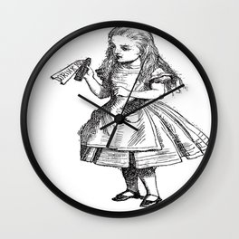 Alice Drink Me Bottle Alice in Wonderland in Black with Transparent Background Wall Clock