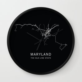 Maryland State Road Map Wall Clock