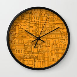 Houses - orange Wall Clock