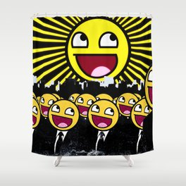 Awesome Smiley Faces Yellow Emoticon                                      Shower Curtain