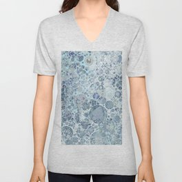 Abstract Faded Blue Grey Bubbles Unisex V-Neck