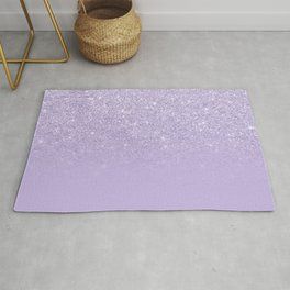 Stylish purple lavender glitter ombre color block Rug