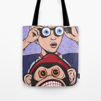rock and roll Tote Bags featuring Rock and Roll Martian by turddemon