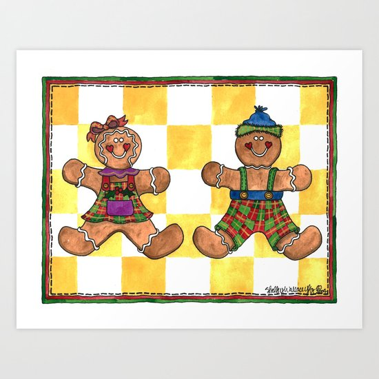 The Gingerbread Twins Art Print