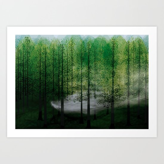 LADY FOG IN FOREST Art Print