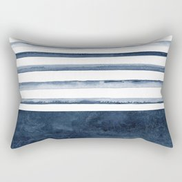 Watercolor Stripes Pattern Rectangular Pillow