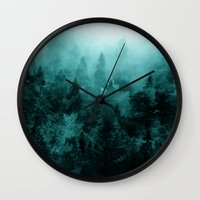 fractal Wall Clocks featuring Fractal Forest by Klara Acel