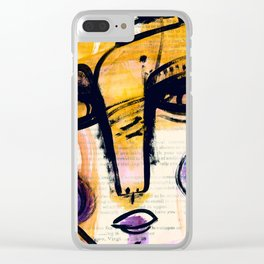 Funky Face 4-912y by Kathy Morton Stanion Clear iPhone Case