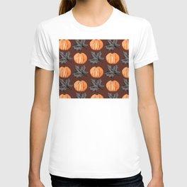 Halloween Pumpkin Rust Autumn Leaf T-shirt