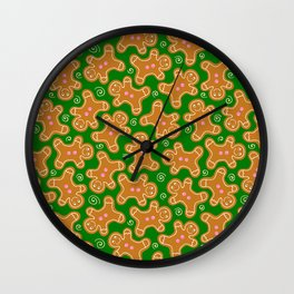 Gingerbread Men on Christmas Green Wall Clock