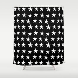 Star Pattern White On Black Shower Curtain