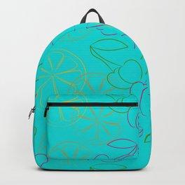 Outline cherries and lemon on blue background Backpack