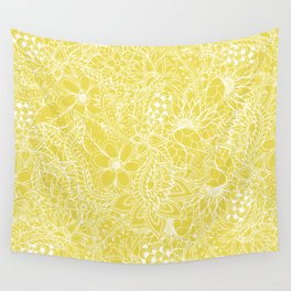 Modern trendy white floral lace hand drawn pattern on meadowlark yellow Wall Tapestry