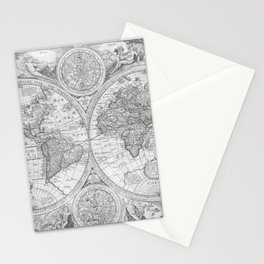 Antique Gray Map Stationery Cards