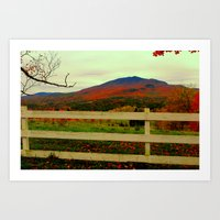 alisa burke Art Prints featuring Burke Mountain - Darling Hill and fields.  by FlatlandersViewOfVT