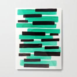 Pastel Teal Primitive Stripes Mid Century Modern Minimalist Watercolor Gouache Painting Colorful Str Metal Print