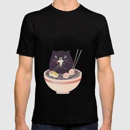 Bowl of ramen and black cat T-shirt