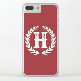 Rustic Red Monogram: Letter H Clear iPhone Case