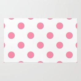 Polka Dots - Flamingo Pink on White Rug