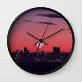 Super Moon City // View of Downtown Denver Colorado Redish Blue Skyline Wall Clock