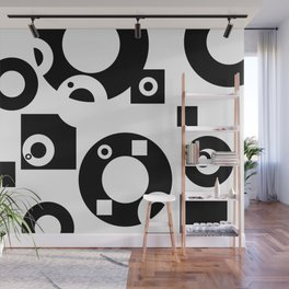 Black& White Rings Rectangle Wall Mural