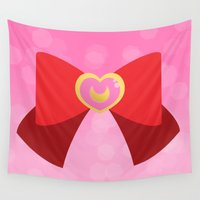 bow Wall Tapestries featuring Moon Bow  by Geekilicious