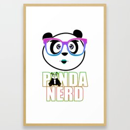 Panda Nerd Girl - Rainbow Framed Art Print