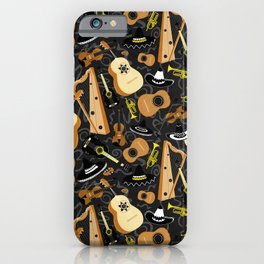 Mariachi Band Pattern on Grey iPhone Case