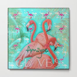 flamingo rose Metal Print