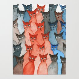 New Mexico Many Whimsical Cats Poster